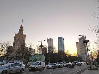 Abend-Impression der Warschauer Skyline. © HTW Berlin / Theresa-Sophie Herget