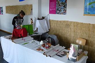 Crowdfunding-Stand für das Exponatec-Projekt des Masterstudiengangs. © HTW Berlin / Sandra Schulze