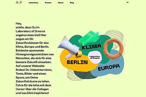 2020/2021 Website Laboratory of Dreams. (Screenshot)